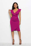 Plus Size Ruffle V-neck Sleeveless Bodycon Dress
