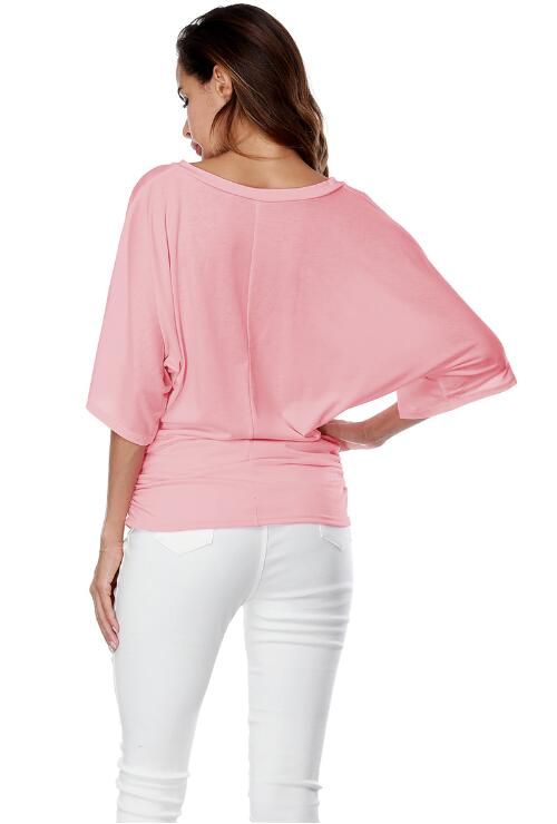 Pink Loose Bat Sleeve V Collar Short Sleeve Plus Size T-shirt