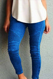 Blue Moto Mesh Inset Pants Plus Size Legging