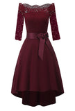Burgundy Lace Tuxedo Party dress