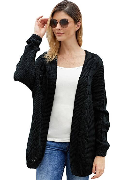 White Sweater Cardigan Long Sleeves Ribbed Knit Cardigan