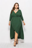 Plus Size V Collar High Waist Long Sleeve Dress