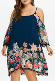 Off Shoulder Pompom Plus Size Floral Dress