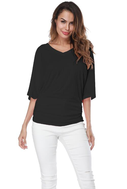 Black Loose Bat Sleeve V Collar Short Sleeve Plus Size T-shirt