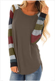 Brown Round Collar Long Sleeves T-shirt