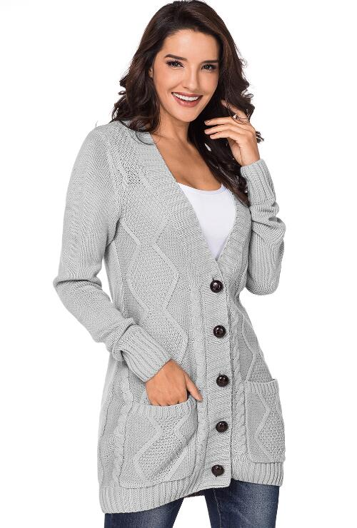 Grey Knitted Cardigan Placket Button Pocket Jacket