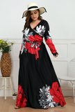 Red Print Long Sleeve Plus Size Bohemia Maxi Dress