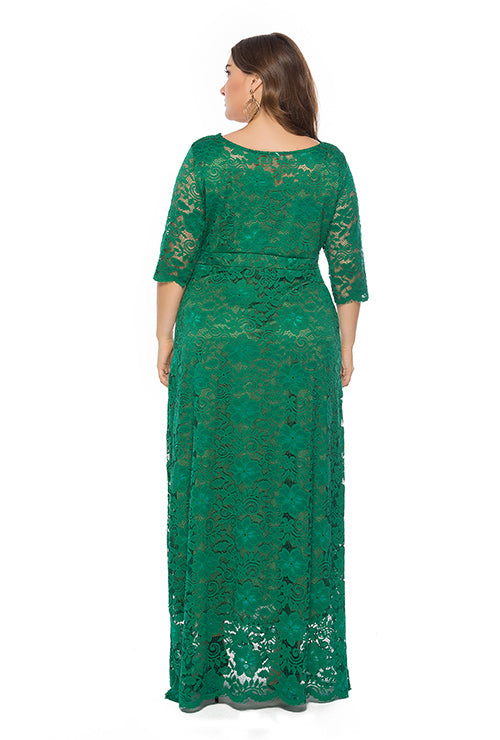 Plus Size Evening Gown Lace Pocket Party Dress