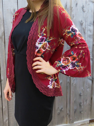 kimono Brittany - Wine - The Ruby Lotus Boutique