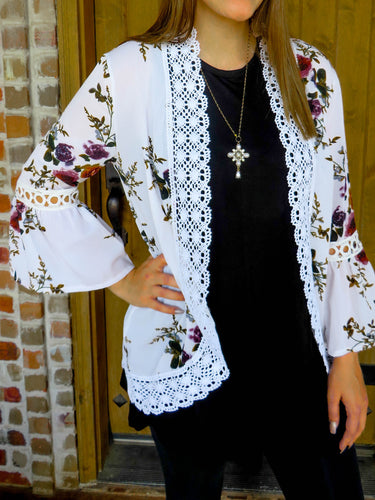 kimono Brittany - White - The Ruby Lotus Boutique