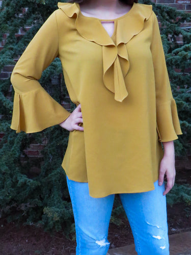 Top Isabella - Mustard - The Ruby Lotus Boutique