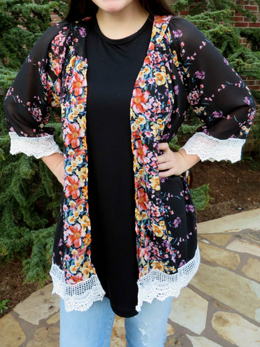kimono Julie - Black - The Ruby Lotus Boutique