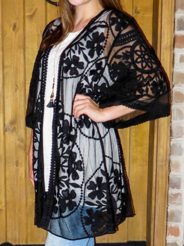 kimono Penny - Black - The Ruby Lotus Boutique