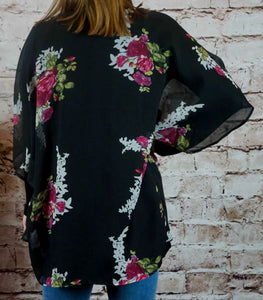 kimono Amy - Black - The Ruby Lotus Boutique