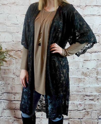 kimono Betty - Black - The Ruby Lotus Boutique
