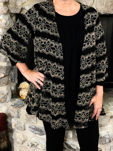 kimono Heather - Black and Gold - The Ruby Lotus Boutique