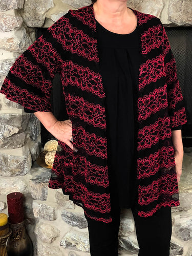 kimono Heather - Black and Red - The Ruby Lotus Boutique