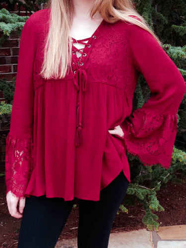 Top Jennifer - Burgundy - The Ruby Lotus Boutique