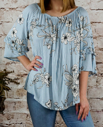 Top Jessica - White and Blue - The Ruby Lotus Boutique