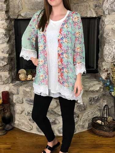 kimono Julie - Mint - The Ruby Lotus Boutique