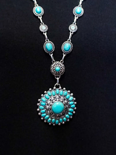 Oslo - Long Chain Necklace Set - Turquoise