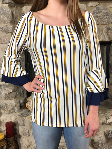 Top Paula - White with blue and yellow stripes - The Ruby Lotus Boutique