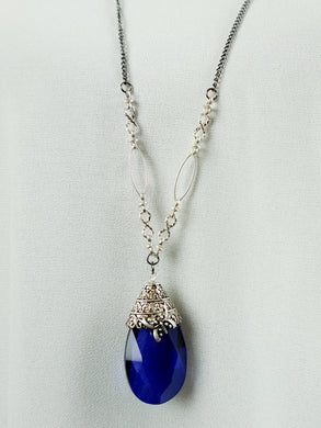San Marino - Long Chain Necklace - Sapphire