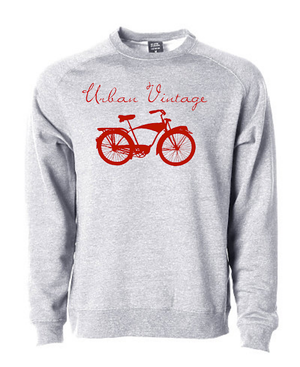 UV Crew Neck Sweatshirt-Heather Gray/Red