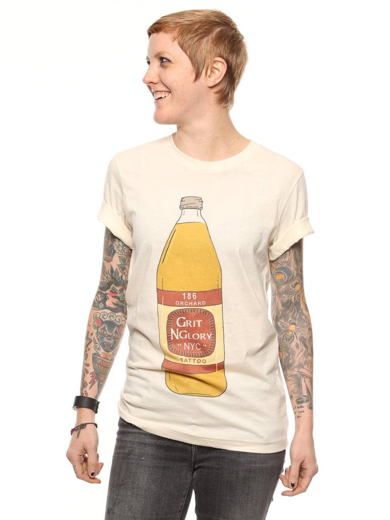 off white unisex 40oz to Grit n Glory Tee featuring 40oz of beer drawn graphic