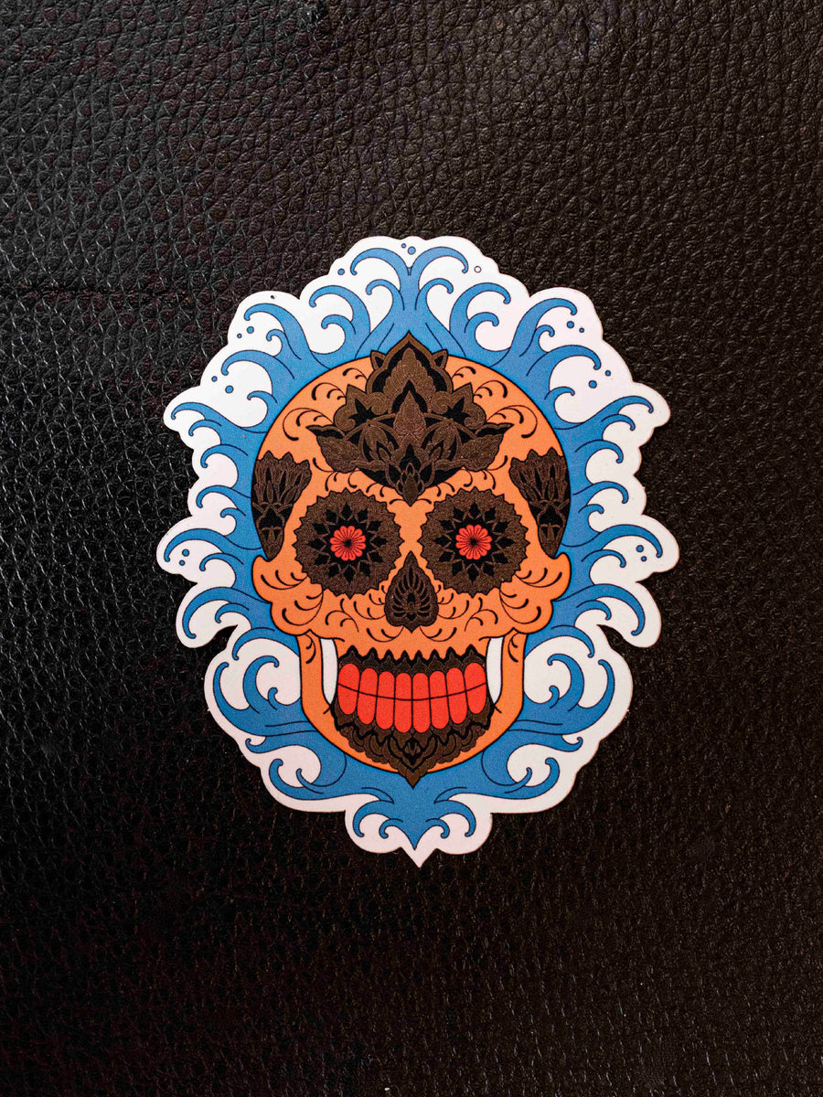 Wave Skull Sticker