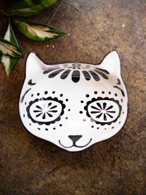 Sugar Skull Cat Bowl