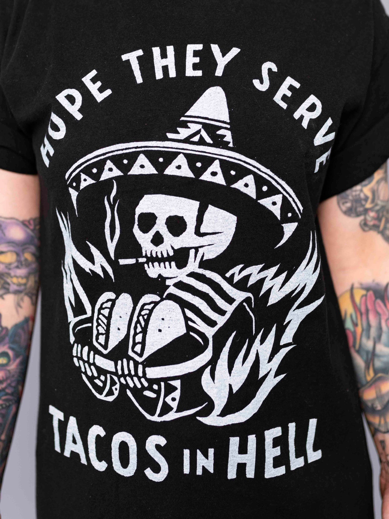Tacos in Hell Black Tee