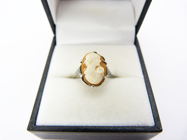 Antique Edwardian 9Ct Gold & Silver Cameo Ring Size L Half (2)