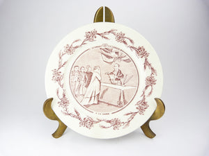 Antique French Red Pink Transferware Wedding Plate Un Mariage A La Campagne