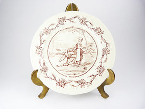 Antique French Red Transferware Plate - Marriage Wedding Plate - Un Mariage A La Campagne