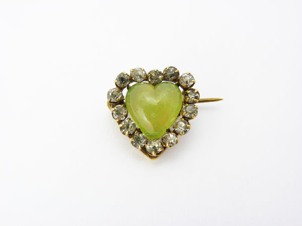 Antique Victorian Chrysoprase Chalcedony & Paste Heart Brooch Pin