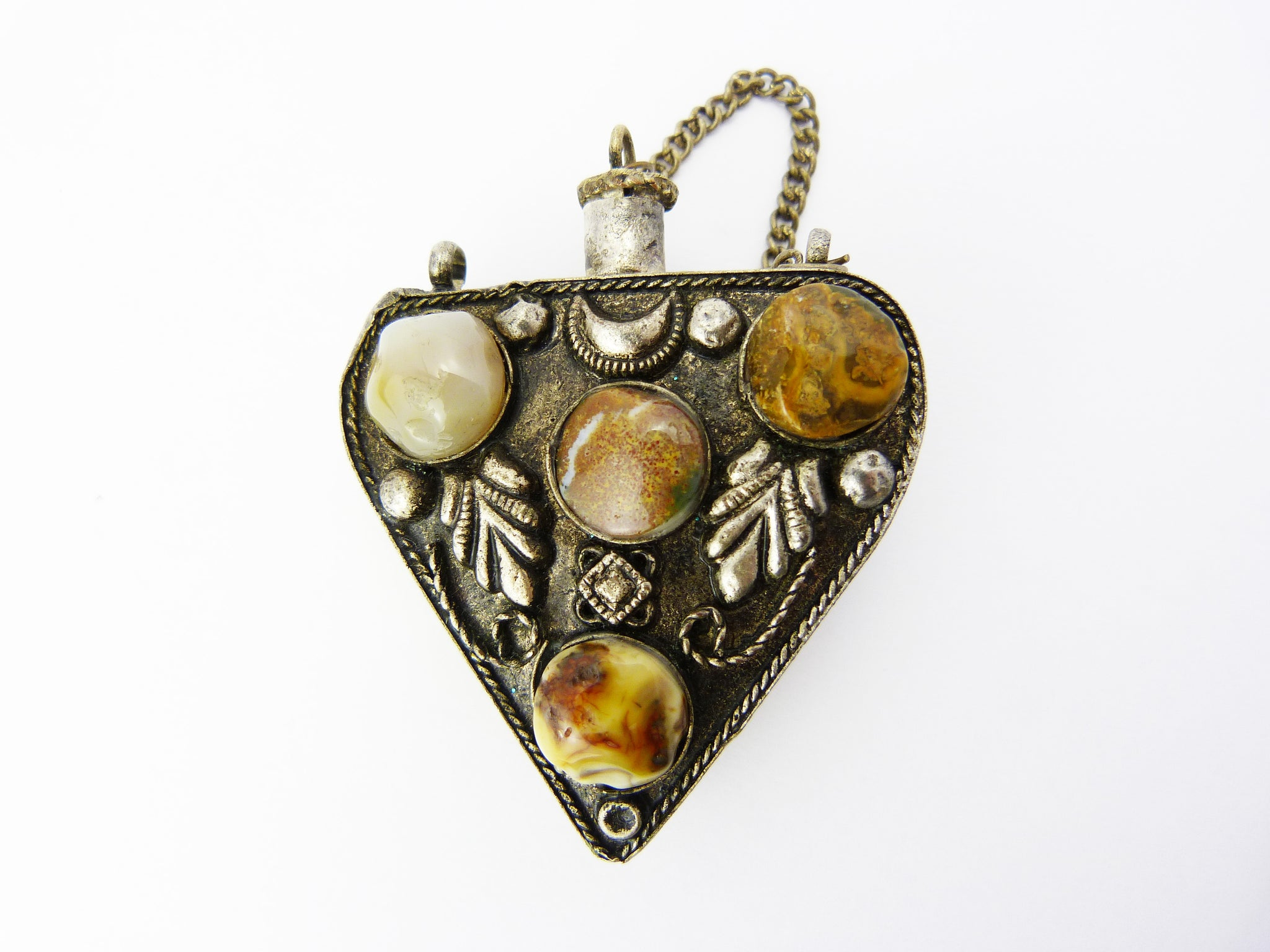 Antique Victorian Silver Tone Multi Stone Perfume Scent Bottle Pendant Chatelaine - Gothic Style
