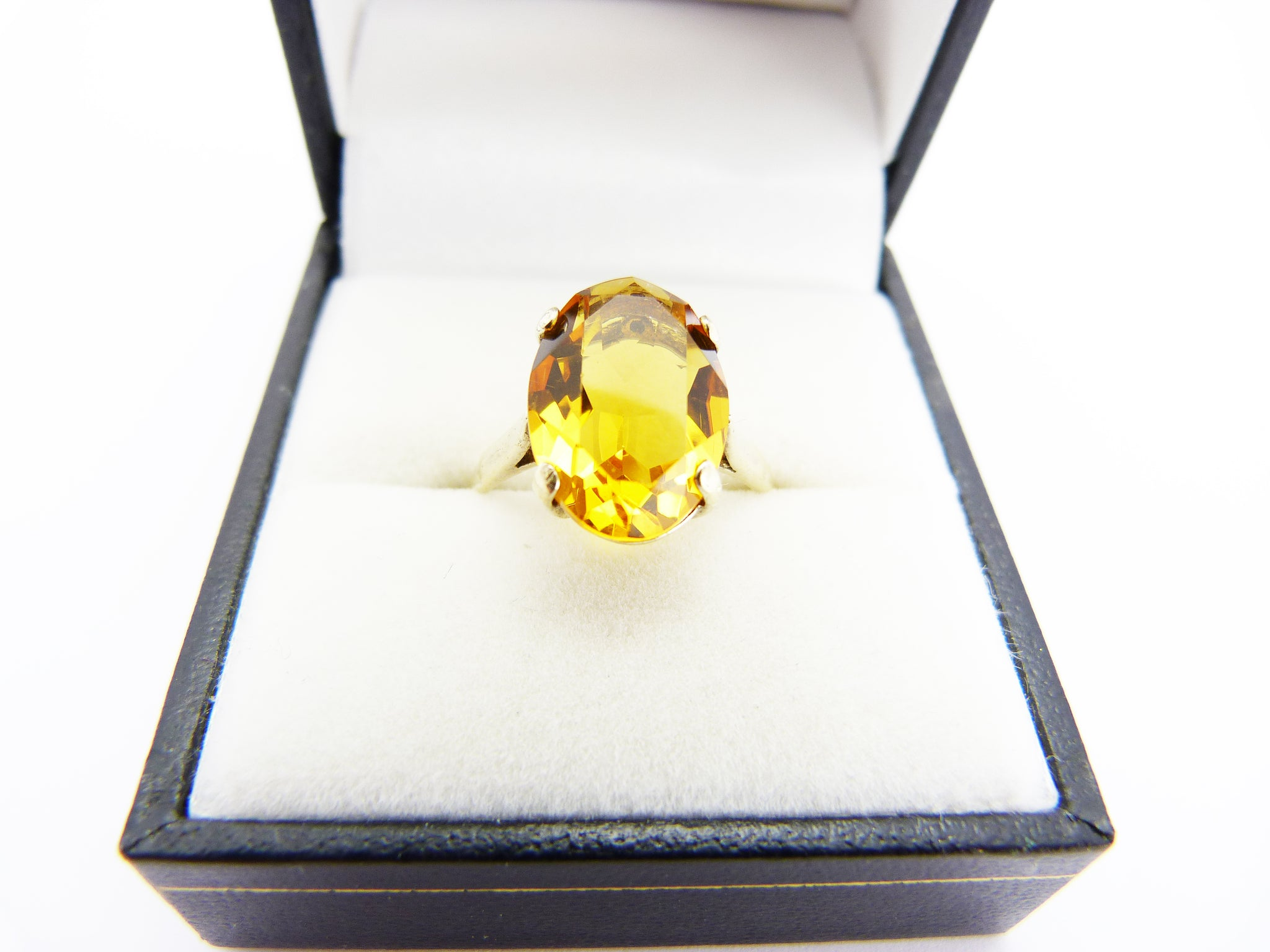 Art Deco Silver Gold Plated Orange Citrine Ring