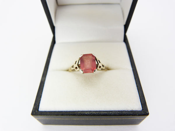 Art Deco H.G. & Sons 9ct Gold and Silver Pink Tourmaline Paste Ring UK Size P - US Size 7.5 - Henry Griffiths and Sons