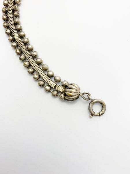 Antique Victorian Silver Plated Ball Bib Collar Necklace