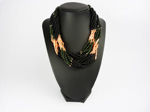 Black Onyx, Coral & Jade Torsade Necklace