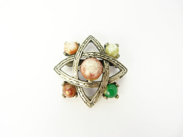 Celtic Pewter & Agate Jacobite Style Brooch