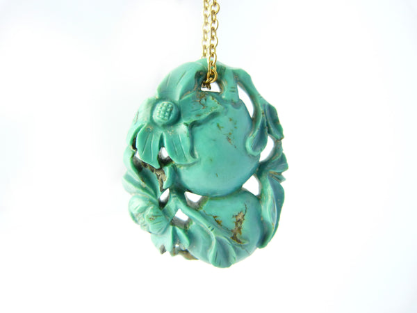 Antique Chinese Turquoise Gourd Pendant