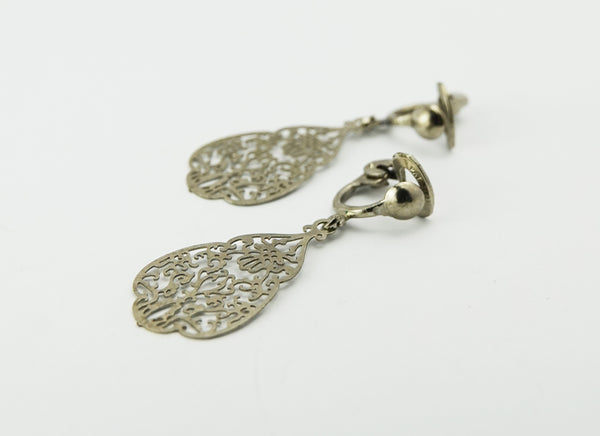 Vintage Silver Tone Art Nouveau Style Clip On Earrings Pat Pending