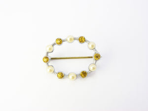 Antique Edwardian Pearl & Citrine Brooch