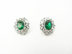 Vintage Faux Emerald & Silver Earrings