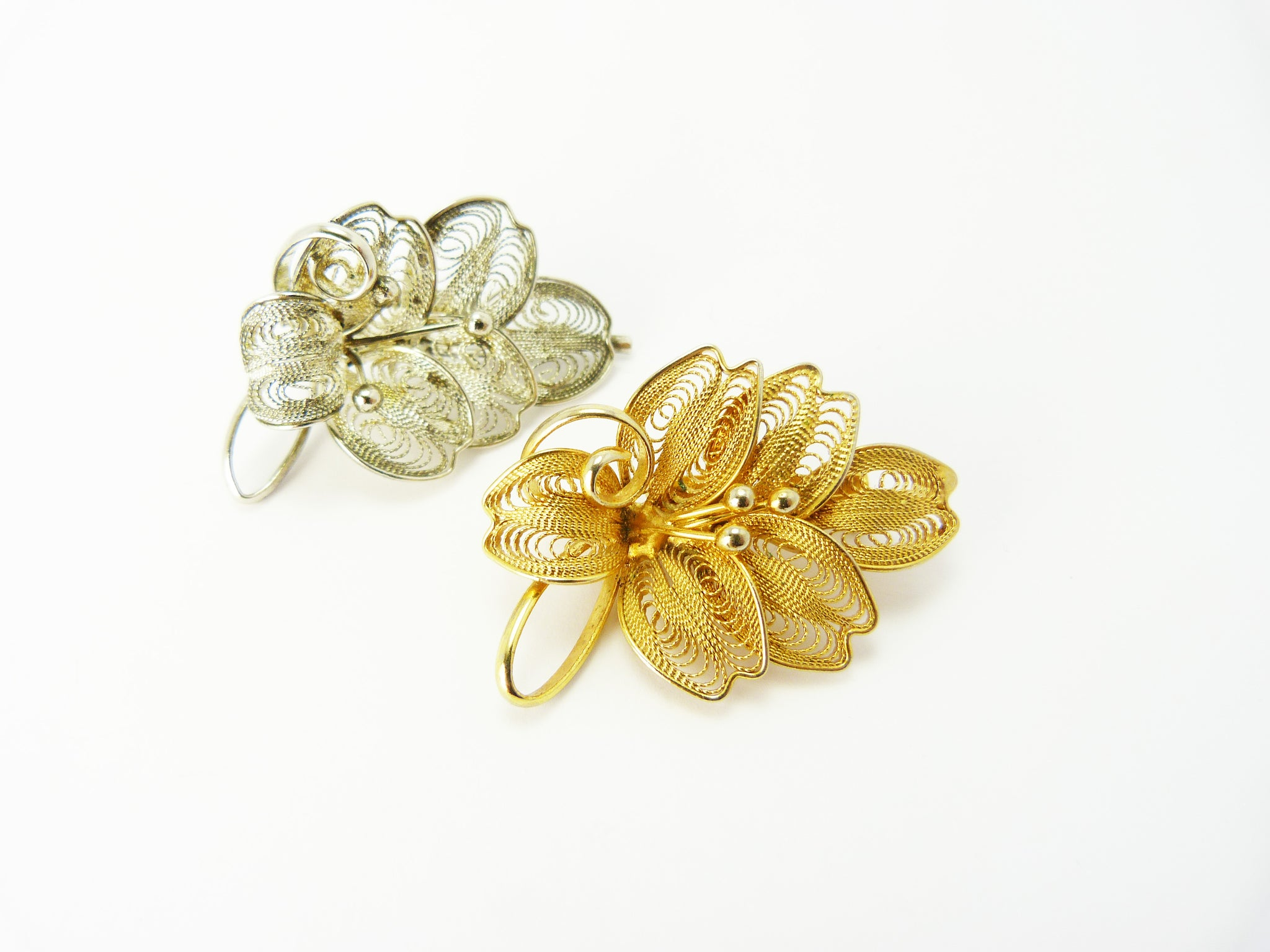 Vintage Gold & Silver Filigree Leaf Brooches