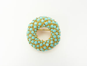 Vintage Gold & Faux Turquoise Circular Brooch