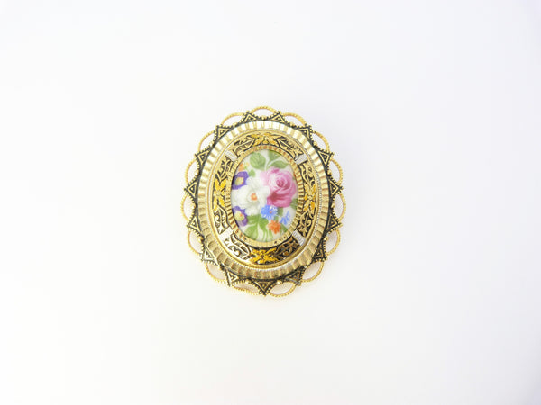 Gold Tone Filigree Milk Glass Cameo Flower Brooch