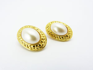 Gold & Pearl Clip On Earrings
